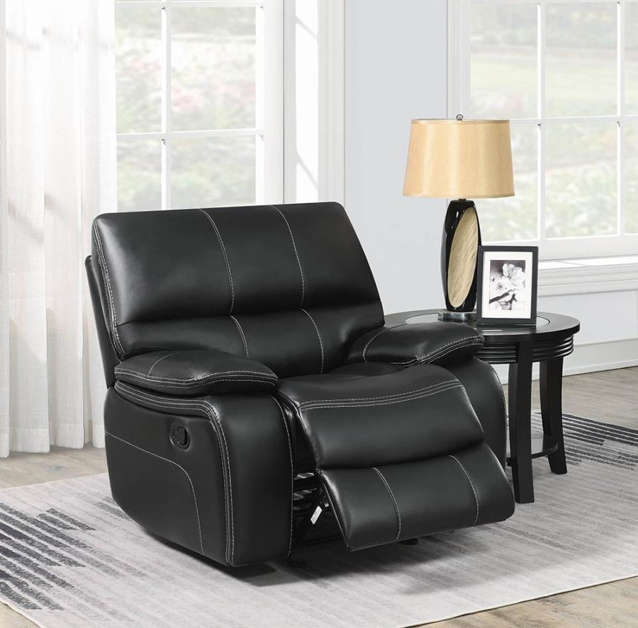 601936 Casual black faux leather glider recliner chair