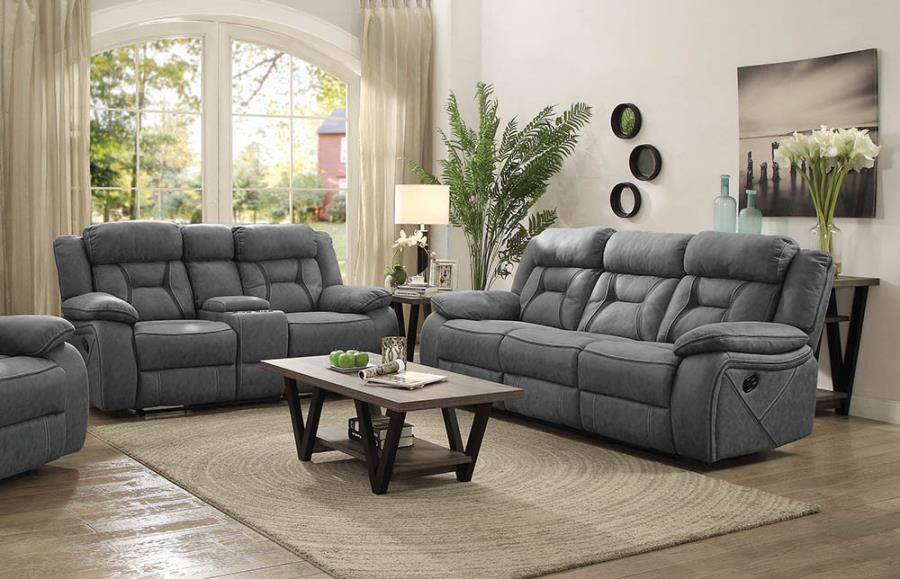 602261-62 2 pc Red barrel studio stef hampsted stone faux suede reclining sofa and love seat set