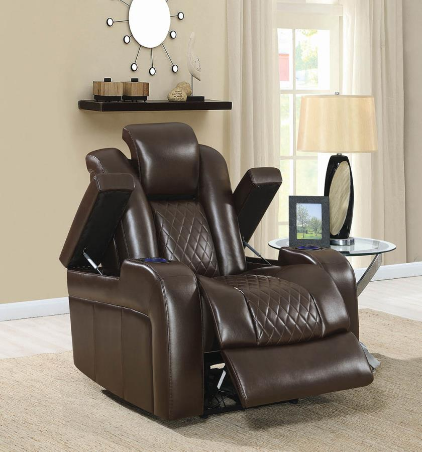 602306P European modern brown faux leather power motion and headrest recliner chair