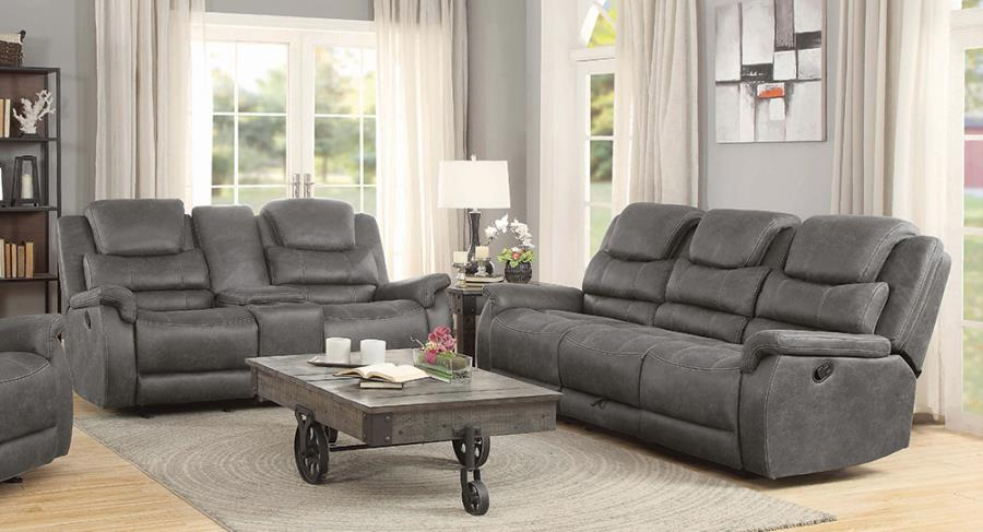 602451-52 2 pc Pocatello wyatt gray faux suede reclining sofa and love seat set
