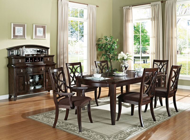 Acme 60255-57-58 7 pc Canora grey rudisill keenan walnut finish wood 4 leg dining table set