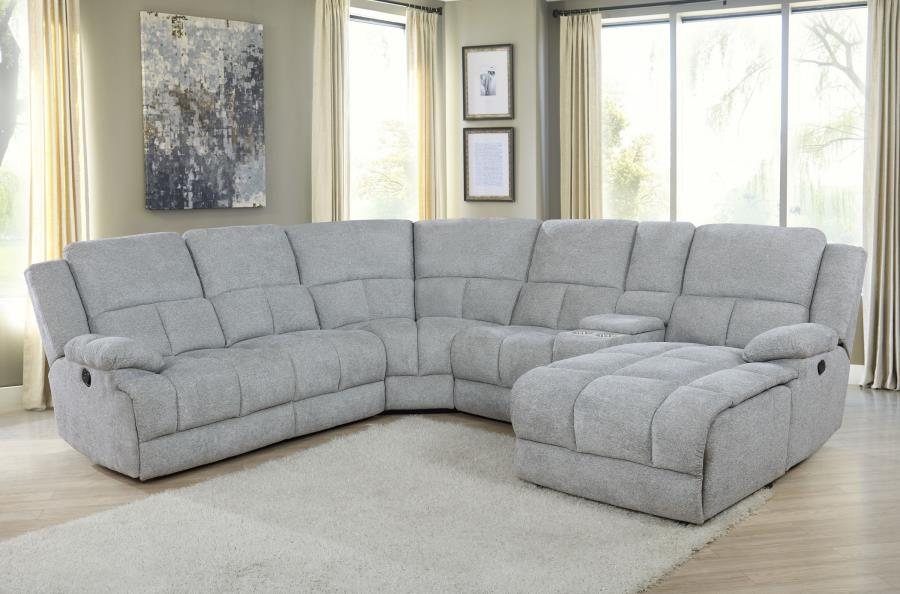 602560 6 pc Latitude run Belize grey chenille sectional sofa set with recliners