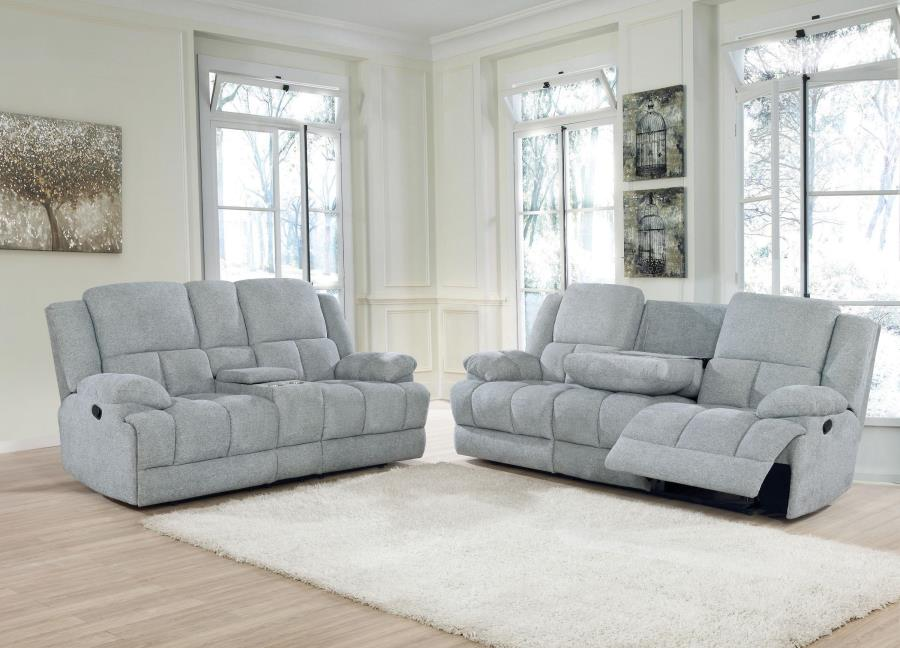 602561 2 pc Red barrel studio bolander Waterbury grey textured chenille fabric reclining sofa and love seat set