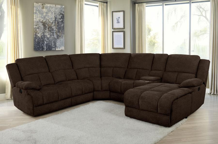 602570P 6 pc Latitude run Belize brown chenille sectional sofa set with power recliners