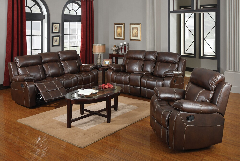 CST603021 2 pc Myleene collection chestnut bonded leather match Sofa with recliner ends and love seat with recliner ends with accented stitching
