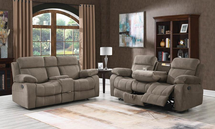 603031-32 2 pc Wildon home myleene mocha textured velvet reclining sofa and love seat set