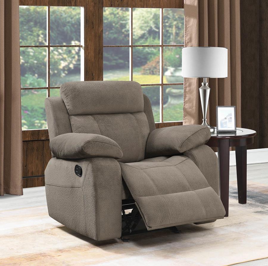 603033 Modern casual mocha textured velvet fabric glider recliner chair