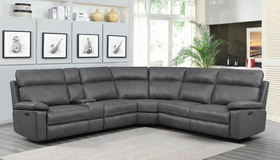 603270PP 6 Pc Red Barrell Studio Albany Gray Leather Gel Match Modular Sectional Sofa With Power