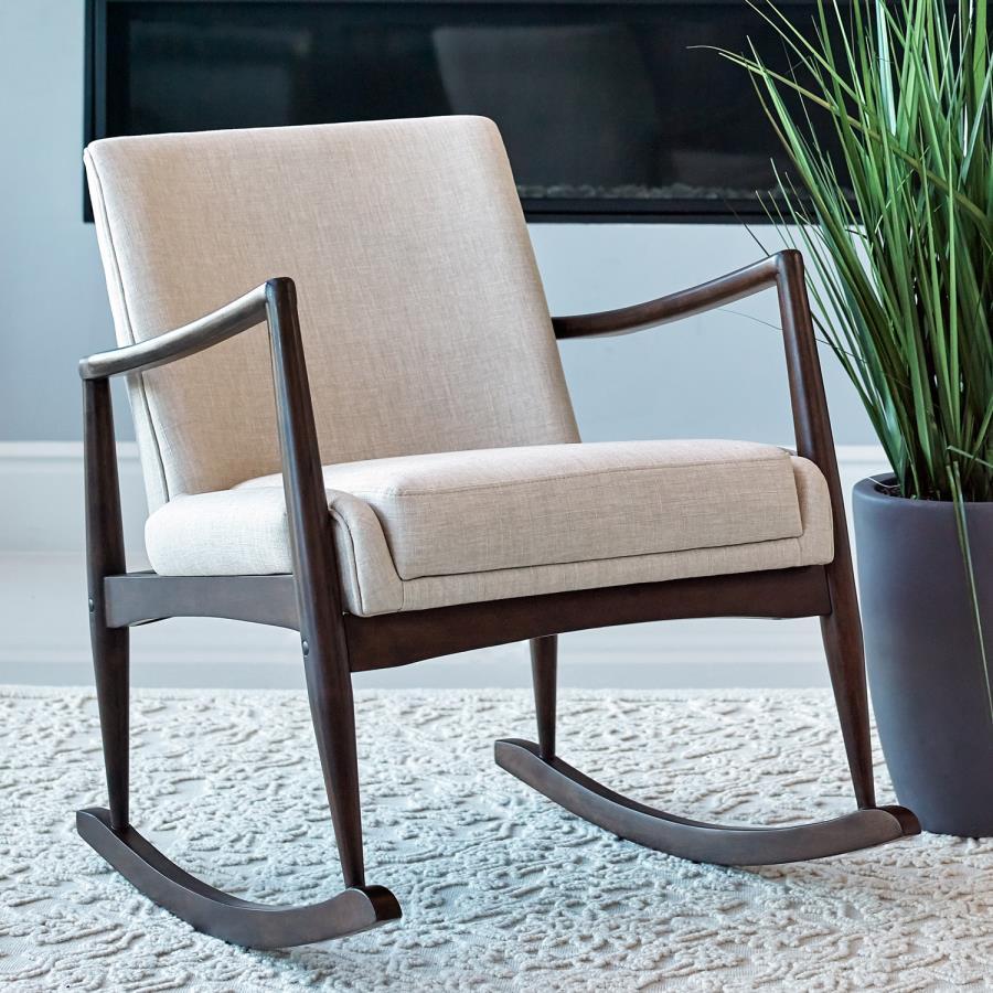 603307 Brayden studio welliver beige linen like fabric walnut finish wood retro style rocking chair