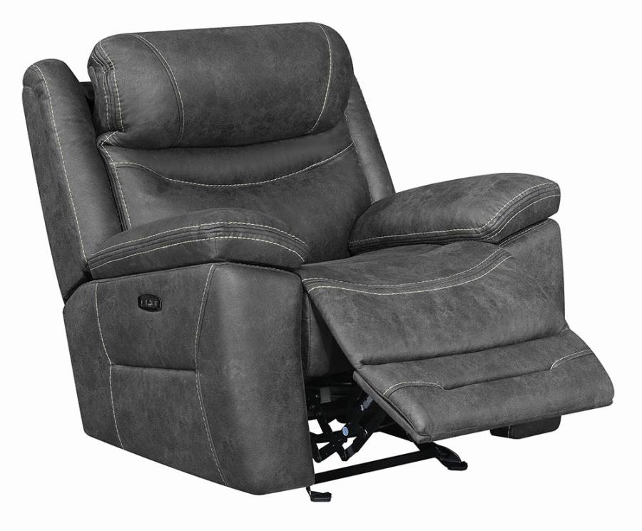 603343PP Transitional dark grey faux suede power motion and headrests glider recliner chair