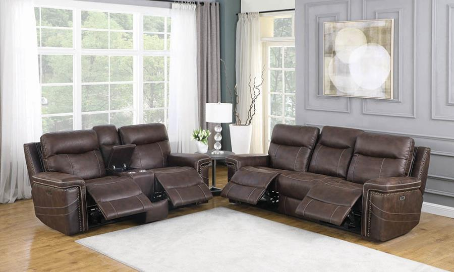 603511PP 2 pc Red barrel studio wixom brown faux suede power motion sofa and love seat set