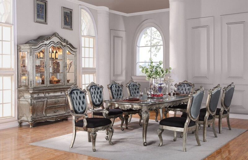 Acme 60540-42-43 7 pc Astoria grand petrin chantelle antique silver finish wood dining table set