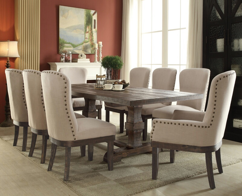 ACM60737-42-43 7 pc Landon collection salvage brown distressed finish wood dining table set with nail head trim chairs