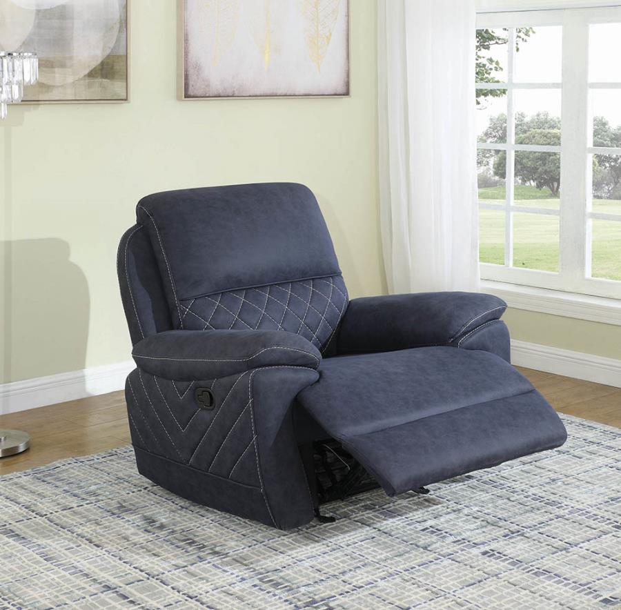 608993 Modern casual blue faux suede fabric glider recliner chair