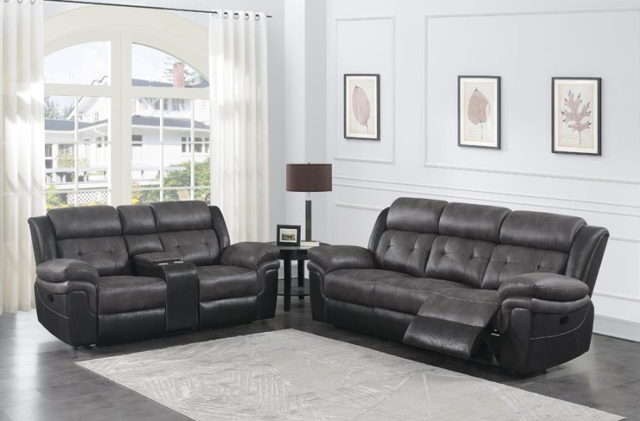 609144P 2 pc Red barrel studio Saybrook charcoal /black coasted microfiber power reclining sofa and love seat set