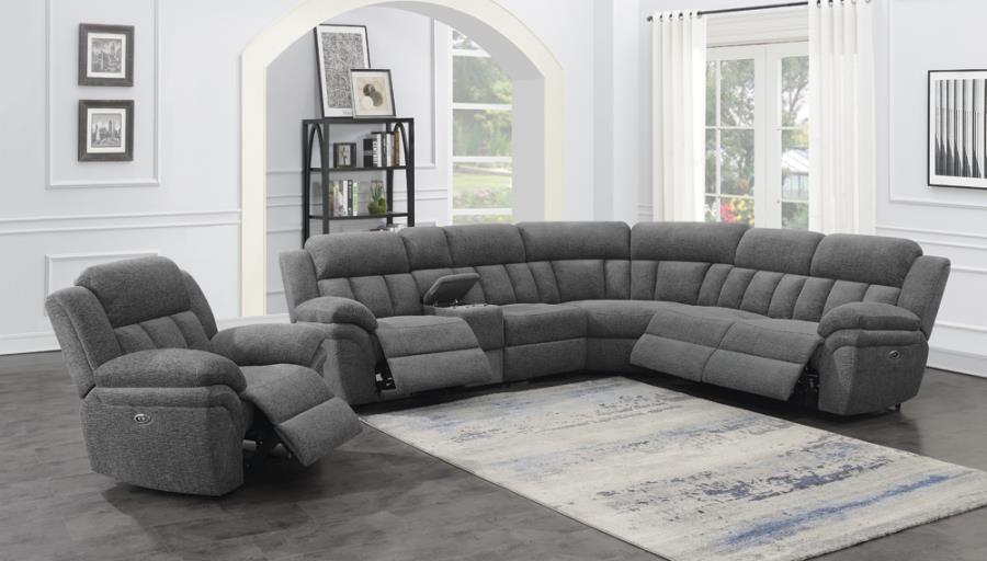 609540P 6 pc Latitude run Bahrain charcoal chenille sectional sofa set with power recliners