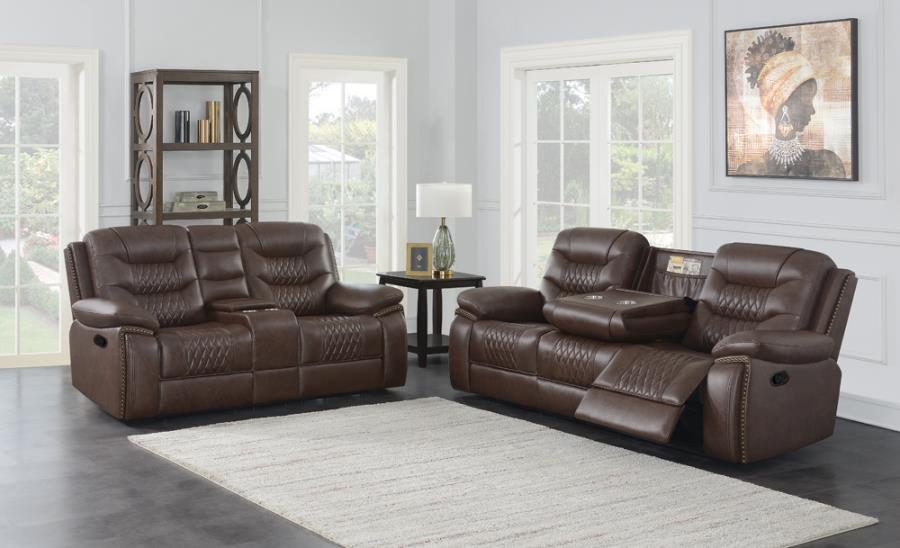 610201 2 pc Darby home co Flamenco brown leatherette reclining sofa and love seat set