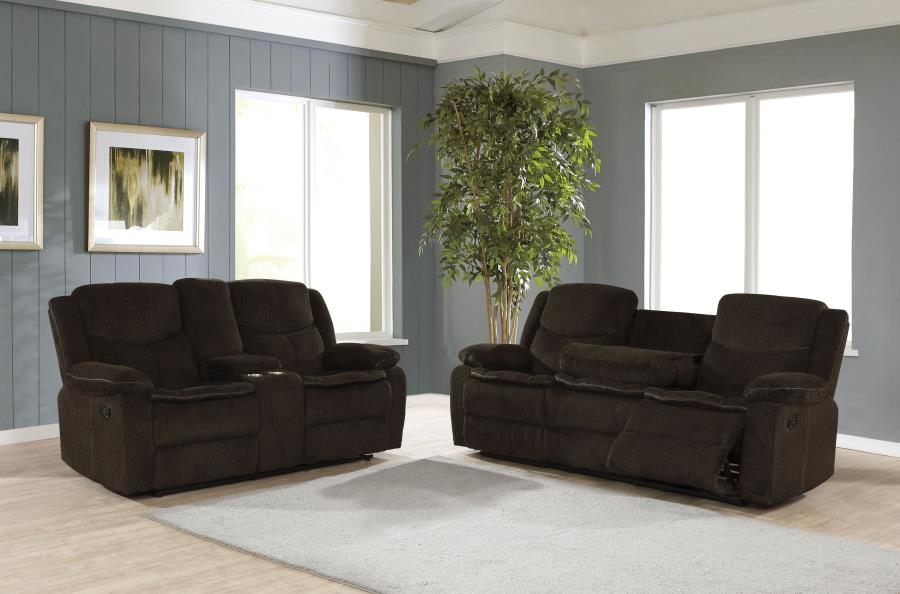 610251 2 pc Red barrel studio bolander Jennings brown textured chenille fabric reclining sofa and love seat set