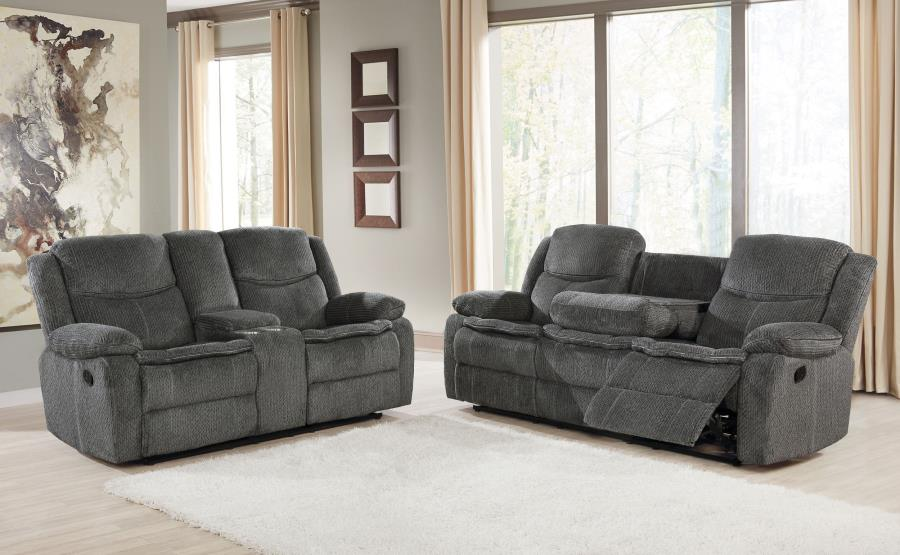 610254 2 pc Red barrel studio bolander Jennings charcoal textured chenille fabric reclining sofa and love seat set