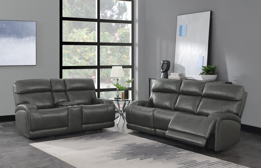 610484P 2 pc Orren ellis Longport charcoal top grain leather power motion sofa and love seat set