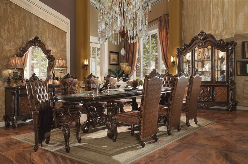 ACM61100 7 pc Versailles collection cherry oak finish wood dining table set with faux leather tufted seats