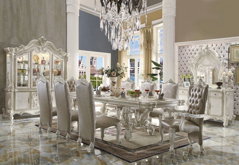 ACM61130 7 pc Versailles collection bone white wash finish wood dining table set with faux leather tufted seats