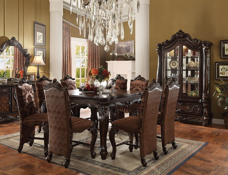 ACM61155-57 7 pc Versailles collection cherry oak finish wood counter height dining table set
