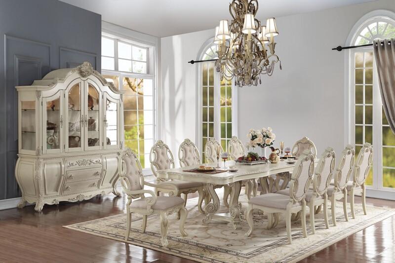 Acme 61280-82-83 7 pc Astoria grand roudebush ragenardus antique white finish wood dining table set