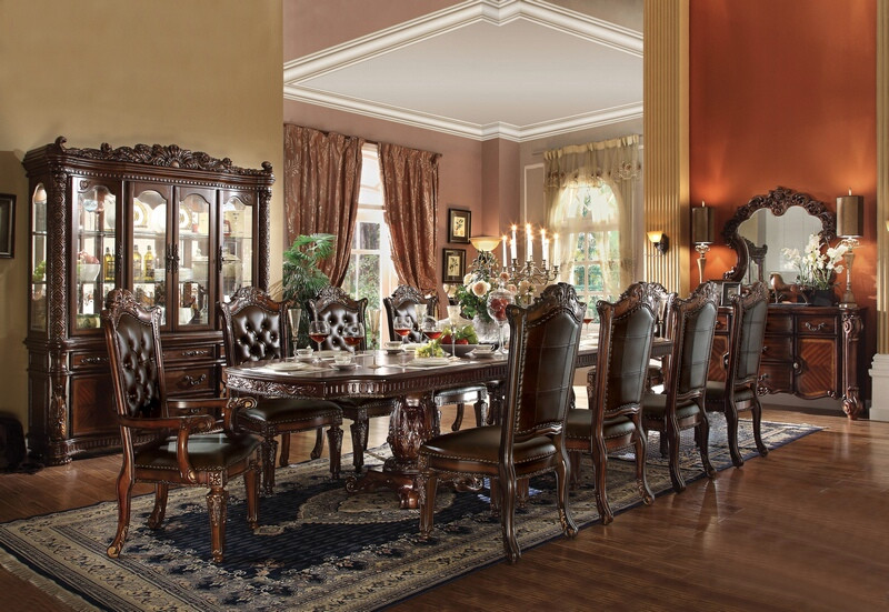 ACM62000 7 pc Vendome II cherry finish wood double pedestal formal dining room set with leather like vinyl upholstered chair seats and backs and decorative carved tops