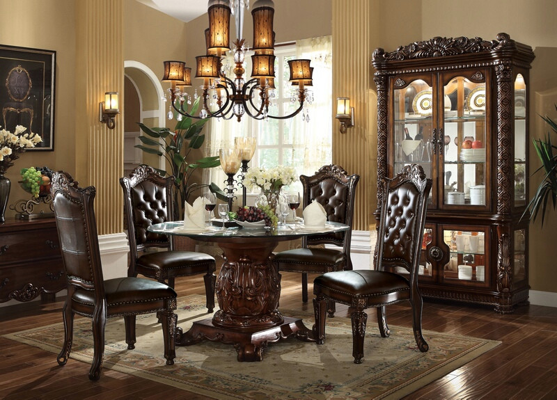 "Acme 62010-04 5 pc Astoria grand susann vendome iii cherry finish wood 54"" round glass top dining table set"