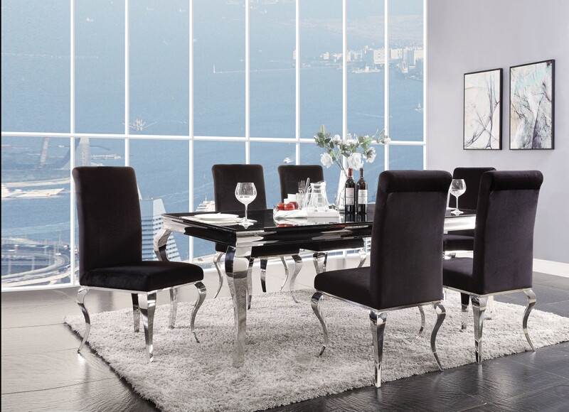 Acme 62070-72 7 pc Fabiola chrome metal and black glass top dining table set