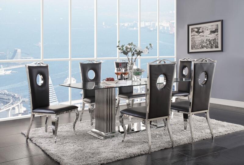 Acme 62075-78 7 pc Cyrene chrome metal and glass top dining table set
