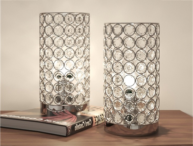 6261T Set of 2 chrome and crystal 3 way touch table lamps