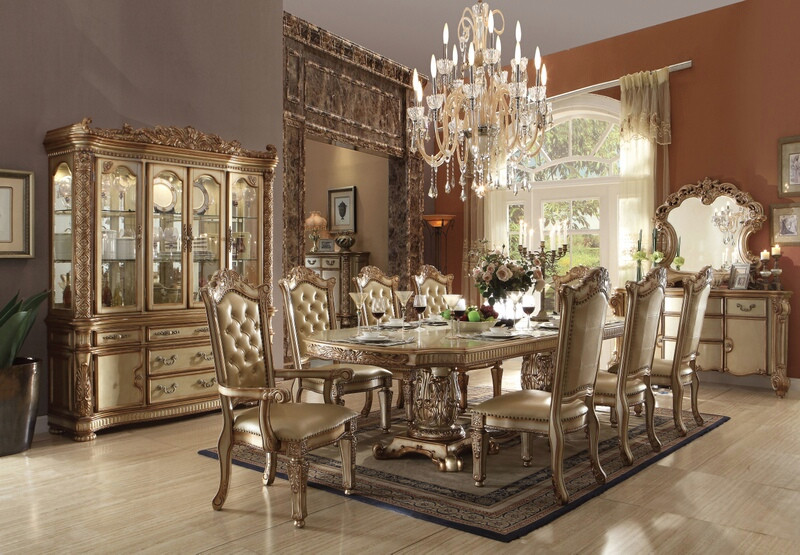 ACM63000 7 pc Vendome collection gold patina finish wood dining table set with faux leather tufted backs