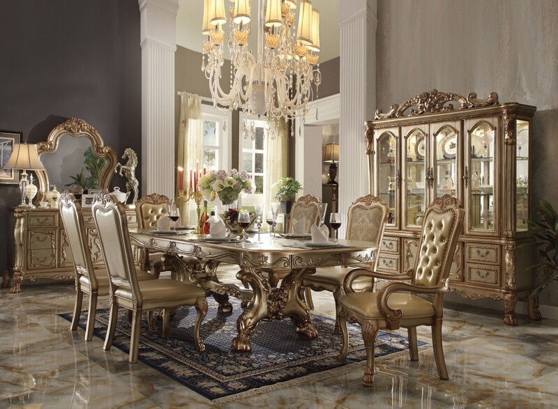 ACM63150 7 pc Dresden collection gold patina finish wood dining table set with faux leather tufted backs