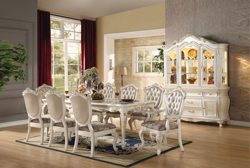 ACM63540 7 pc Chantelle collection pearl white finish wood dining table set with faux leather tufted backs