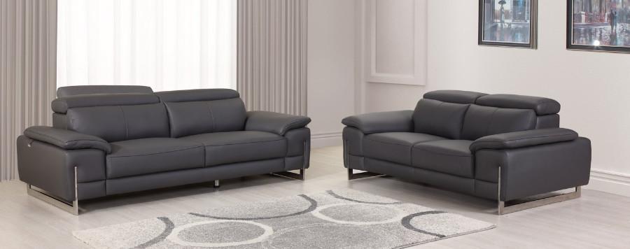 636GR-2PC 2 pc Orren ellis amatury divanitalia dark gray italian leather sofa and love seat set
