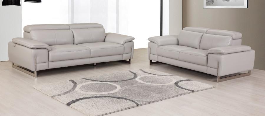 636LT-GR-2PC 2 pc Orren ellis amatury divanitalia light gray italian leather sofa and love seat set
