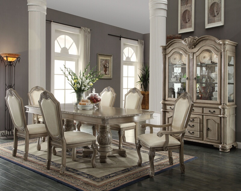 ACM64065-67-68 7 pc Chateau De Ville collection antique white finish wood double pedestal dining table set