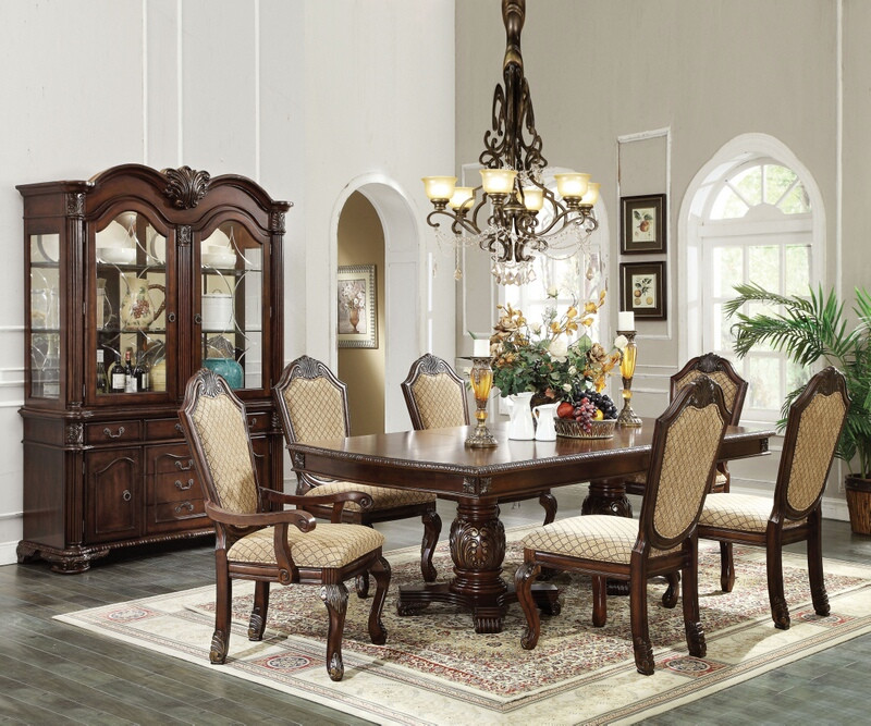 Acme 64075-77-78 7 pc Astoria grand liam chateau de ville ii espresso finish wood double pedestal dining table set