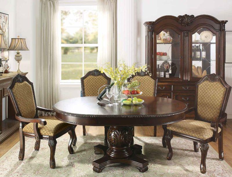 Acme 64175-77-78 5 pc Astoria grand liam chateau de ville ii espresso finish wood round / oval pedestal dining table set
