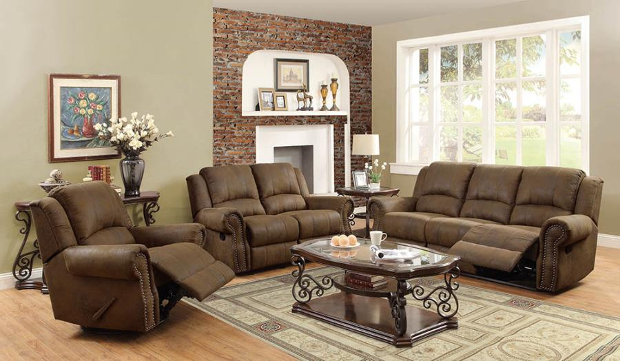650151-52 2 pc Darby home co configurable sir rawlinson brown faux suede reclining sofa and love seat set