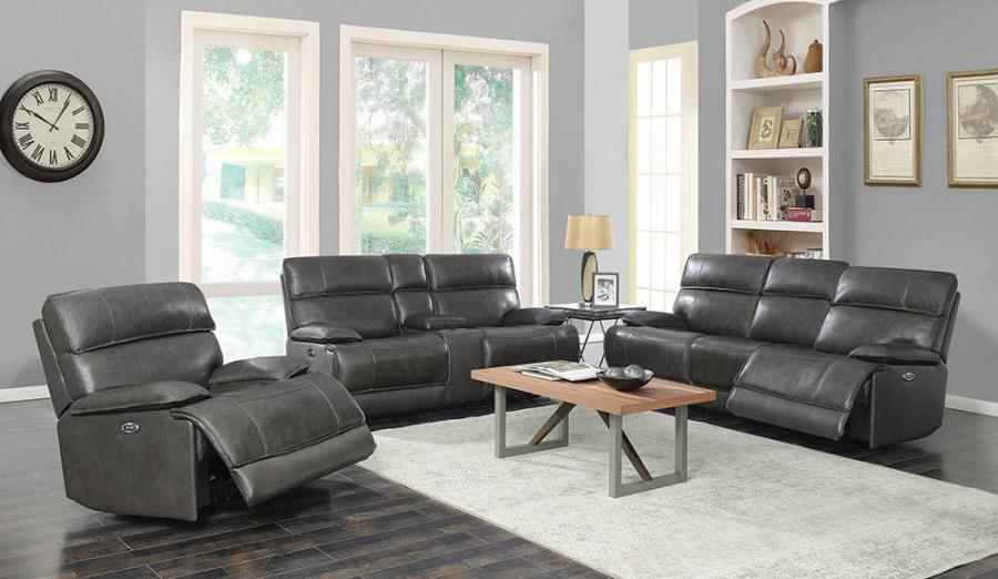 650221PP 2 pc Red barrel studio stanford charcoal top grain leather power motion sofa and love seat set