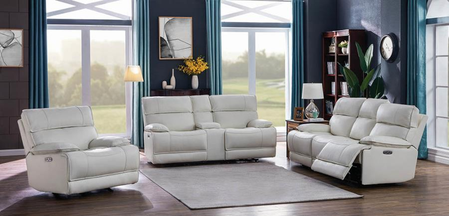 650227PP 2 pc Red barrel studio stanford white top grain leather power motion sofa and love seat set