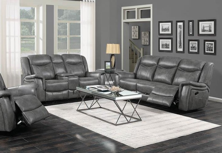 650354-55 2 pc Nickelson red barrel studio gray breathable leatherette sofa and love seat set