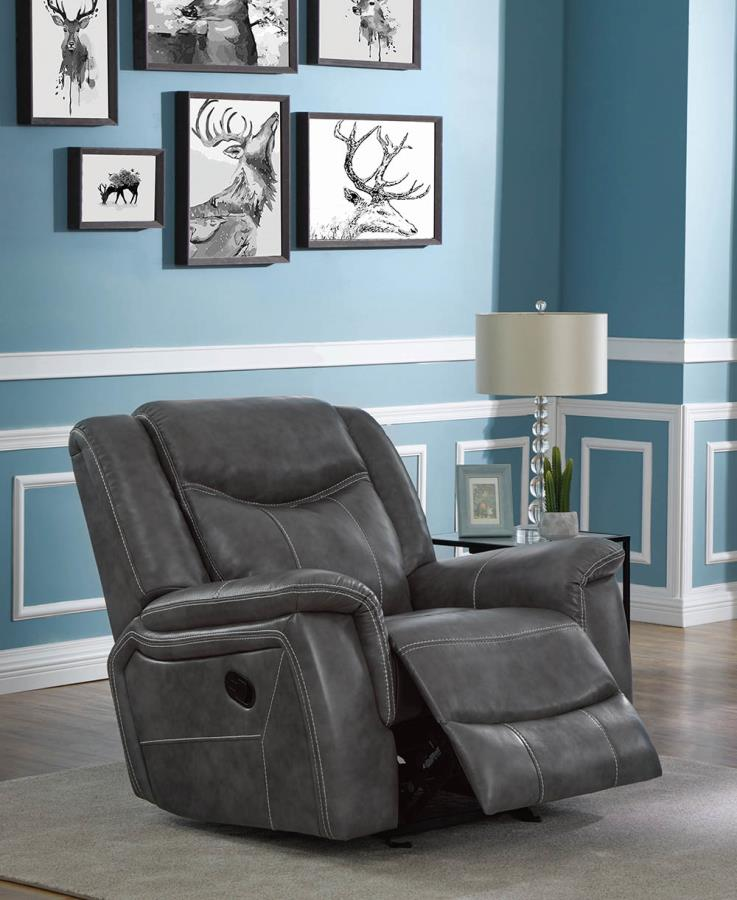 650356P Transitional grey faux leather power motion glider recliner chair