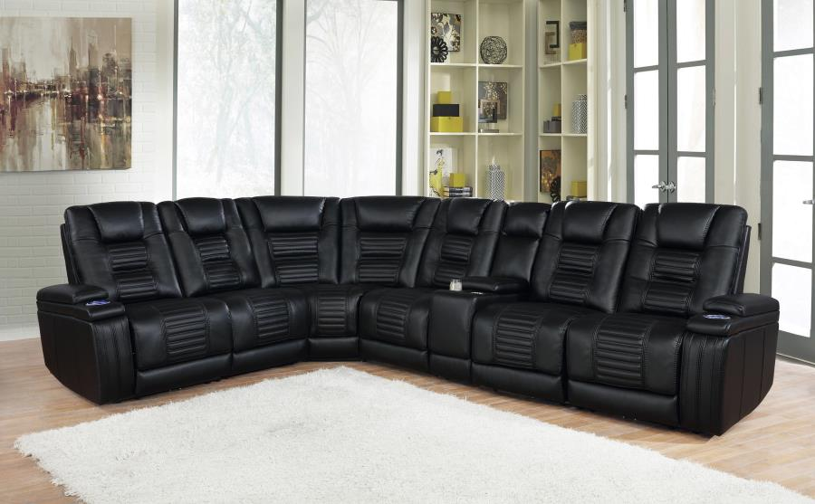 651320PP 7 pc Red barrell studio Zane black leatherette modular sectional sofa power motion recliners and headrests