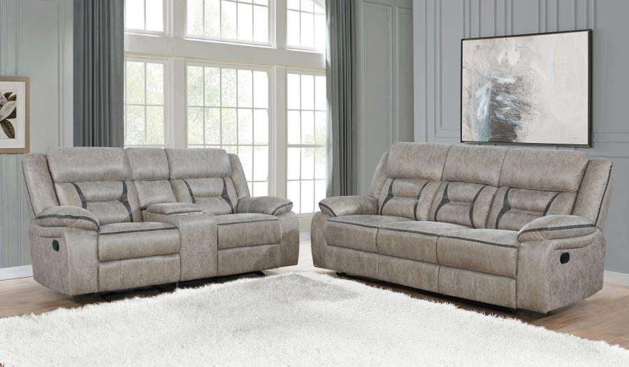 651351-52 2 pc Canora grey amidon Greer taupe leatherette reclining sofa and love seat set