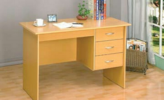 6531N Natural finish wood student writing desk with drawers