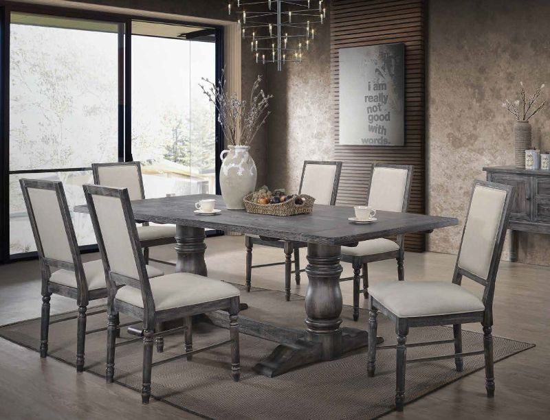 Acme 66180-82 7 pc Leventis weathered gray finish wood double pedestal  dining table set